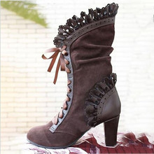New Women Boots Laciness High Hell Mid-Claf Boots Women Winter Retro Warm Fashion Snow Boots 2019 Ladies Casual Shoes Size 43 цена 2017