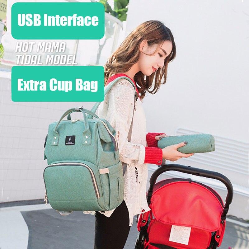 H5236d3a299114f50a4f87faaeec04611H Diaper Bag With USB Interface Large Capacity Travel Backpack Nursing Handbag Waterproof Nappy Bag Kits Mummy Maternity Baby Bag