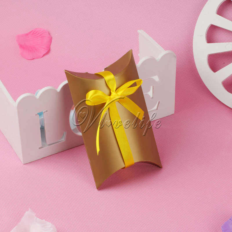 100pcs Pillow Wedding Party Favor Paper Gift Box Candy Boxes Supply Accessories Favour Kraft Paper Gift Boxes CHOOSE COLOR