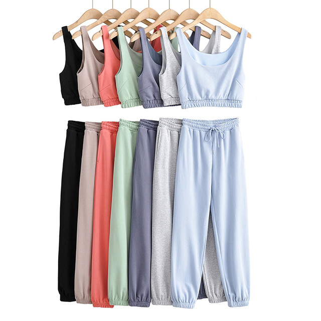 Fashion Tracksuit Womens Clothing Two Peice Set Outfits Sexy Sleeveless Crop Tops Loose Streetwear Elasitc Waist Jogger Pants 1