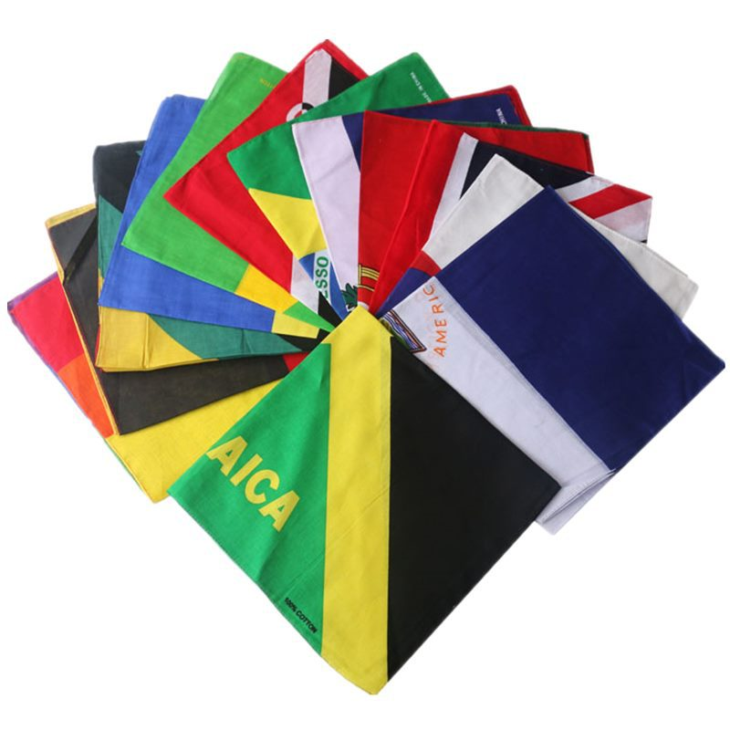 Haiti United States British Flag Series Cotton Square Hip Hop Street Dance Punk Personality Scarf Wrist Band Bandana Wholesale