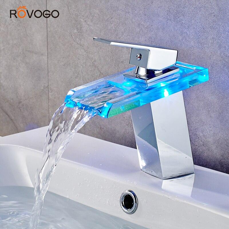 ROVOGO LED robinet de salle de bain cascade laiton bassin robinet froid chaud mélangeur robinet pont monté évier mélangeur grue