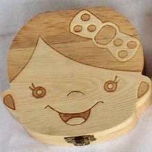 Handmade wooden baby deciduous box hair storage collection childrens tooth house save teeth