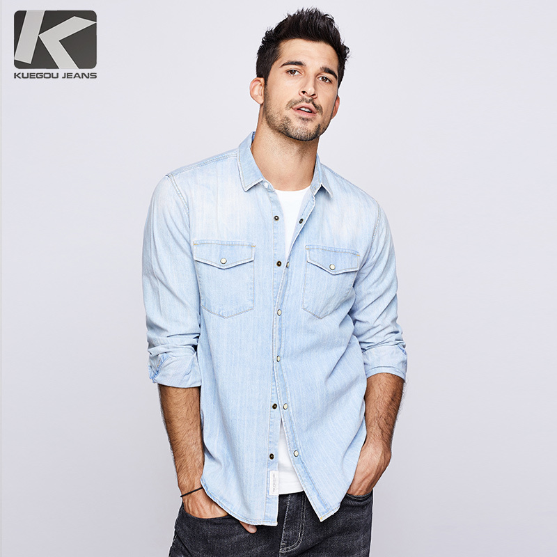 KUEGOU 2019 Autumn 100% Cotton Denim Shirt Men Dress Casual Slim Fit Long Sleeve For Male Fashion Brand Blouse Plus Size 6276
