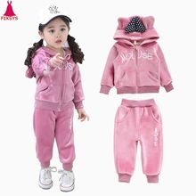 Hot Baby Girls Clothing Set Winter Warm Thick Plush Cotton For Baby Boys Hoodies Pants Children Clothes Kids Suit Toddler Sets цены