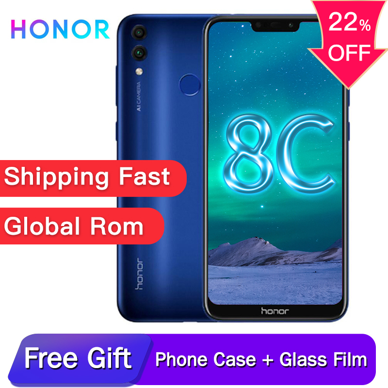 Original honor 8C 6.26in facial recognition Snapdragon 632 Octa core front 8.0MP dual rear camera 4000mAh 3 cards slot