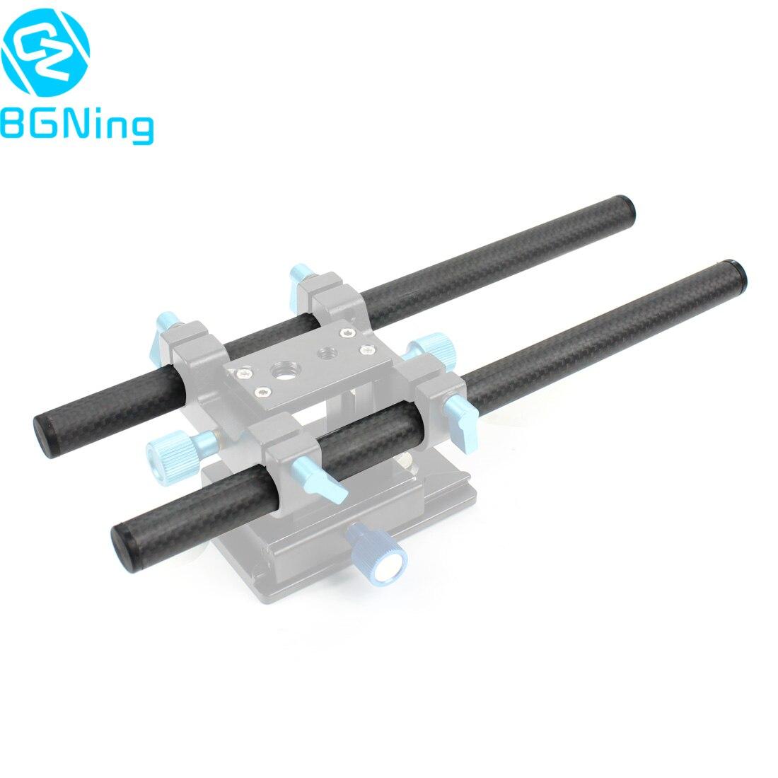 2Pcs 10cm / 25cm /30cm / 40cm Carbon Fiber Tube Rod For Dia 15mm Rod Rail System Follow Focus Camera Cage Kit