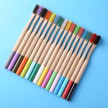 16 adet bambu diş fırçası renkli doğal çevre dostu yumuşak kıl çocuk yetişkin diş fırçası diş temizleme fırçası ağız bakımı