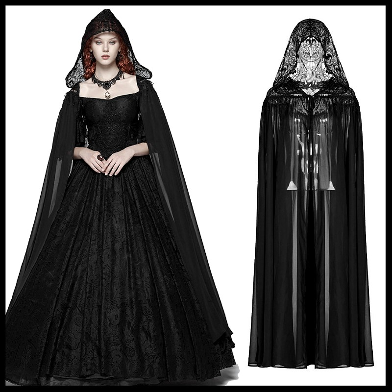 PUNK RAVE Women's Gothic Black Chiffon Long Cloak Victorian
