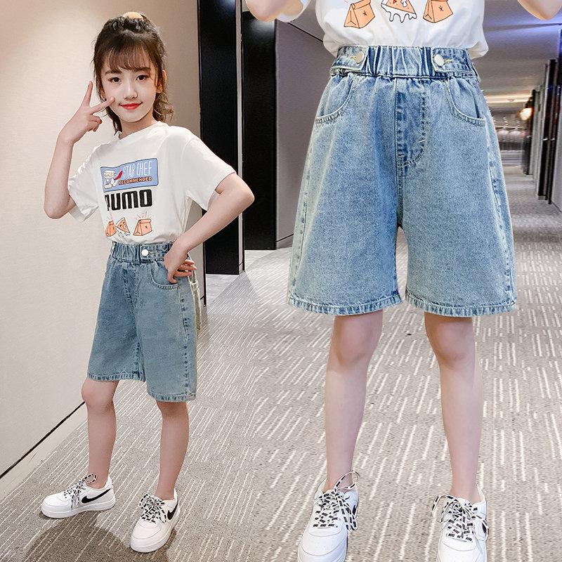 2020 Summer Fashion Shorts Knee Length 4 6 8 10 12 13Years Pants Children Short Jeans Pants Kids Girls Wide Leg Pants Trousers 1