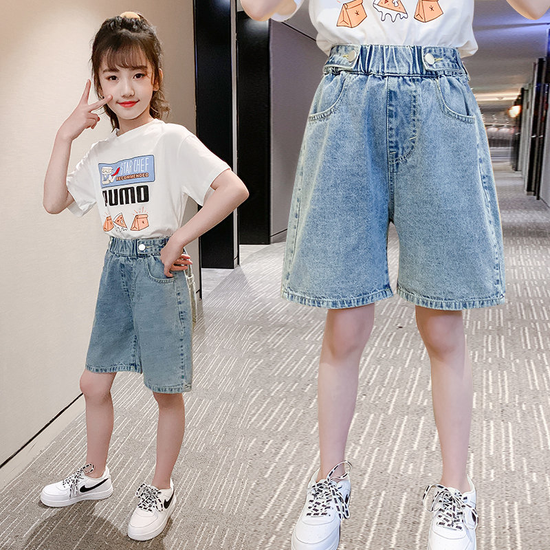 2020 Summer Fashion Shorts Knee Length 4 6 8 10 12 13Years Pants Children Short Jeans Pants Kids Girls Wide Leg Pants Trousers image
