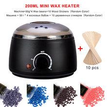 Máquina de depilación cera-derretimiento Calentador cera frijoles 10 pegatinas símil madera depilación máquina depilación Kit de cera
