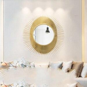 Amerikaanse Luxe Smeedijzeren Muur Opknoping Decoratieve Spiegel Thuis Woonkamer Muurschildering Decoratie Hotel Muursticker Ambachten Art