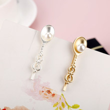 Enamel Hairpin Jewelry Creative Pearl In Spoon Design Hair Pin Gold Hairwear Cute Theme Girl Hair Accessories(China)