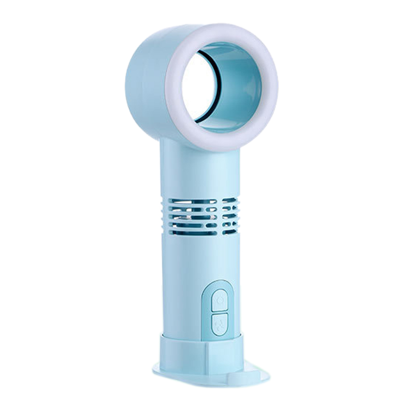 USB Handheld Mini Cooler Leafless Fan Rechargeable Portable Desktop Lighted Air Cooler Three Tooth Leafless Fan|Fans| |  - title=