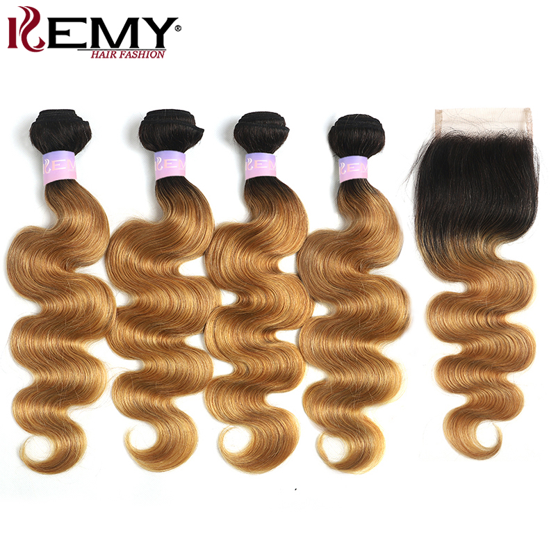 Ombre Blonde Body Wave Bundles With Closure 4x4 KEMY Beazilian Human Hair Weave Bundles With Closure Non-Remy Hair Extension