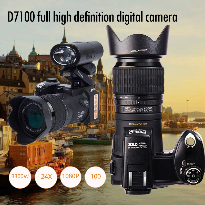 PROTAX D7100 Digital Camera 33MP FHD DSLR Half-Professional 24x Telephoto & Wide Angle Lens sets 8X Digital zoom Cameras Focus image