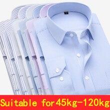 בתוספת גודל גדול 9XL 8XL 7XL 6XL 5XL Mens עסקים מקרית ארוך שרוולים חולצה קלאסי פסים זכר חברתי שמלת חולצות