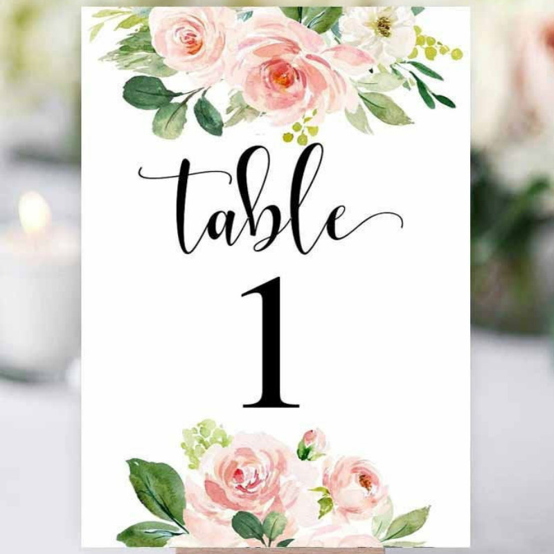 Personalized Acrylic Wedding Table Numbers White Theme Pink Flowers Table Number for Wedding Decor Modern Table Signs Romantic