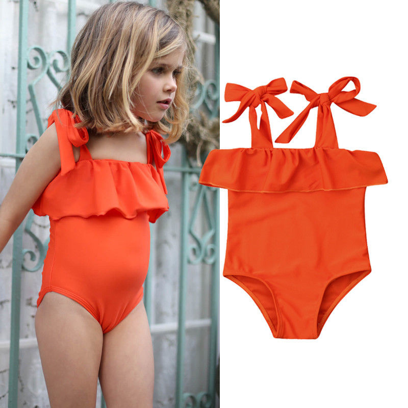 One-peice Toddler Baby Girl Swimsuit Solid Color Bow Sling Ruffled Swimsuit Bikini Swimsuit