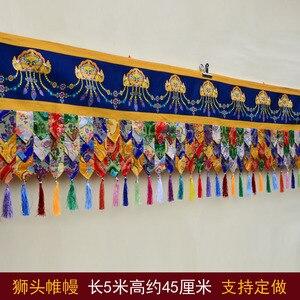 5 метров в длину оптом буддийские товары буддизм семейный храм благоприятная вышивка стены занавес Гобелен драпировки