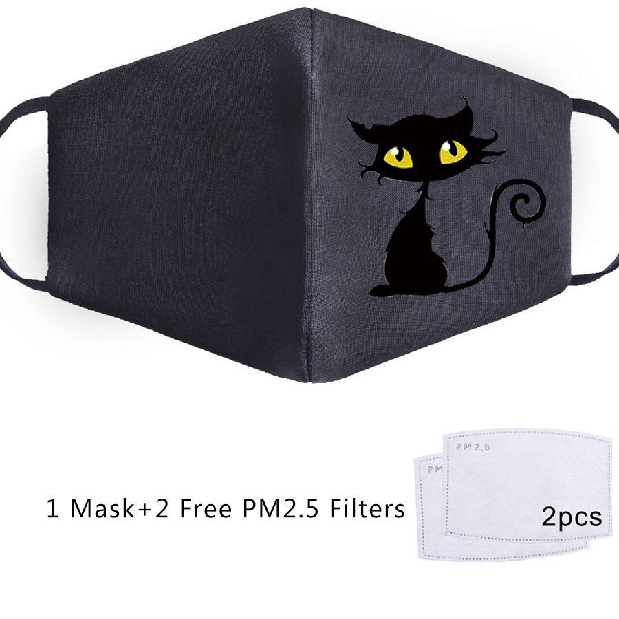 Black Cat Face Mask Mouth PM2.5 Filter Kawaii Cute Lovely Funny Cool Cats Reusable Anti Dust Dustproof Bacteria Washable Masks