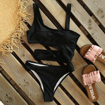 2021 Women New Sexy Black One Piece Swimsuit Women Cut Out Swimwear Push Up Monokini Bathing Suits Beach Wear Swimming Suit 5