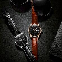 Aesop Ultra Thin Watch Men Automatic Mechanical Minimalist Wrist Wristwatch Leather Band Male Clock Relogio Masculino 1001g