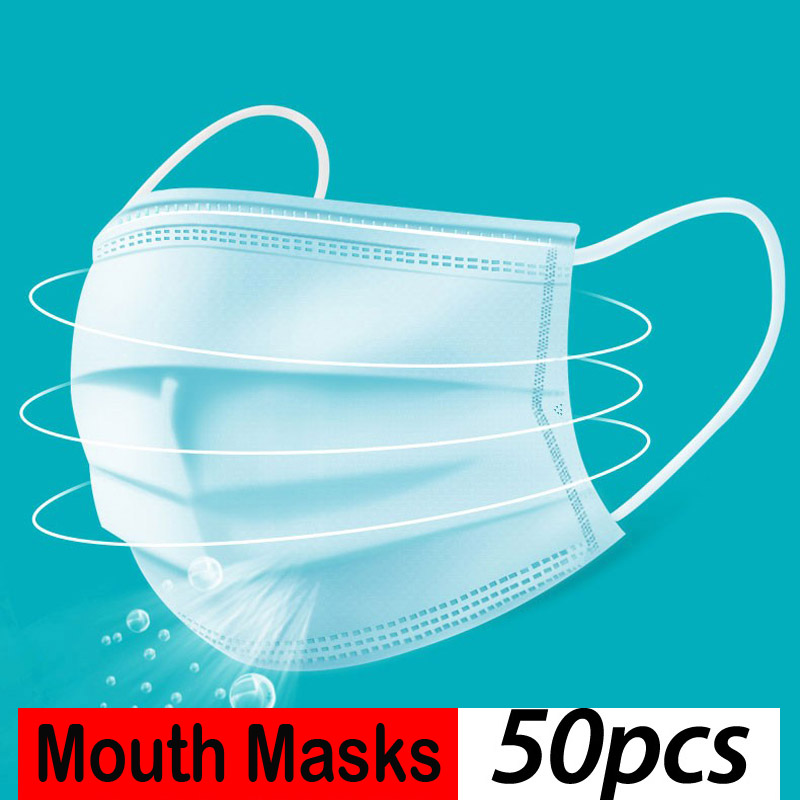 Hot Sale 50 Pcs 3-Ply Face Mouth Masks Anti PM2.5 Anti Influenza Non Woven Disposable Elastic Mouth Soft Breathable Face Mask