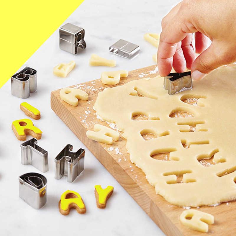 Đồng Hồ Nam Dây Thép Không Gỉ 26 Bảng Chữ Cái Khuôn Cắt Cookie Hình Khuôn Bánh Hình Thú Số Bộ Dao Trang Trí Bánh Moulds Fondant Bộ Dao