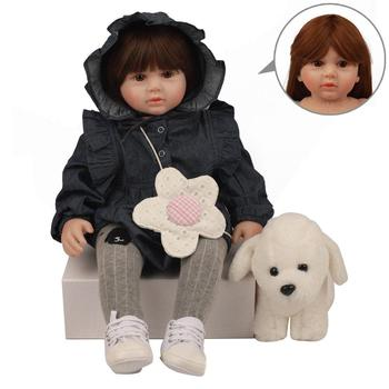 Reborn Baby Doll Lifelike Toddler Girl Dressed Toy Plush Dog Soft Hands Feel Cotton Body Silicone Head Limbs Kids Playmate