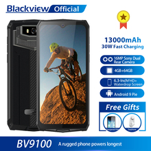 Original Blackview BV9100 13000mAh Waterproof Rugged Smartphone Helio P35 4GB+64GB Android 9.0 Mobile Phone 30W Fast Charge