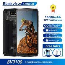 Original Blackview BV9100 13000mAh Wasserdichte Robuste Smartphone Helio P35 4GB + 64GB Android 9.0 Handy 30W schnelle Ladung