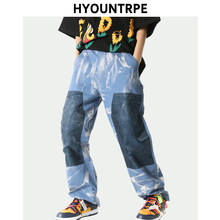 High Street Tie-dyed Patchwork Pants Mens Zipper Straight Trouser Hip Hop Streetwear Spring Summer Casual Jogger Men Clothing(China)