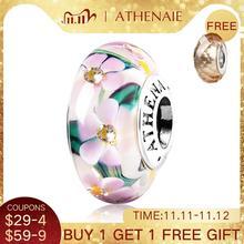 ATHENAIE véritable verre de Murano 925 argent coeur fleur jardin charmes perle Fit Bracelets européens collier pour femmes bijoux à bricoler soi même
