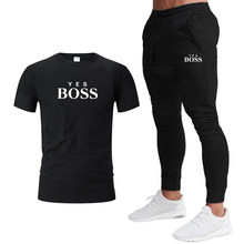2021Summer Fashion brand Men's Set personalized fashion printing sports short-sleeved T-shirt + sports casual trousers 2 Piece