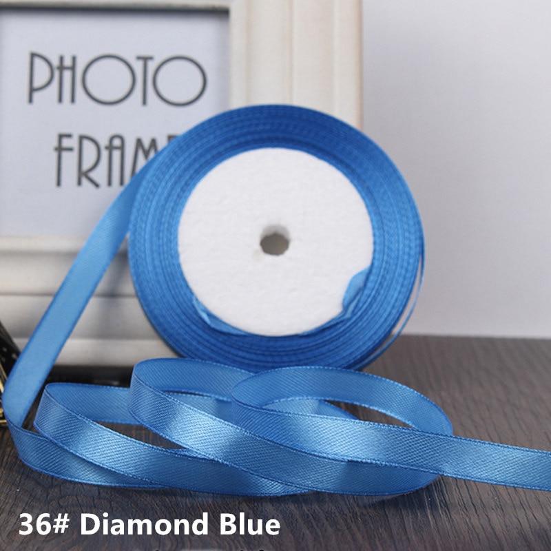 25 ярдов/рулон 6 мм 10 мм 15 мм 20 мм 25 мм 40 мм 50 мм шелковые атласные ленты для рукоделия бант ручной работы подарочная упаковка вечерние свадебные декоративные - Цвет: 36 diamond blue