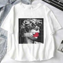 Camiseta feminina impressão feminina cabeça de medusa vai vida homem em uma pedra mitologia história topos camisa harajuku mulher tshirts