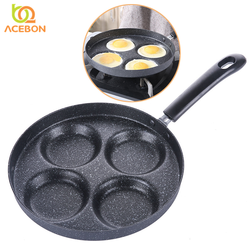 Four-hole Omelet Pan For Eggs Ham PanCake Maker Frying Pans Creative Non-stick No Oil-smoke Breakfast Grill Pan Cooking Pot 24cm