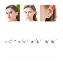 1 Pair Stainless Steel Straight Rod Zircon Nose nail Button Nail Jewelry With Crystal Profile Human Body Piercing