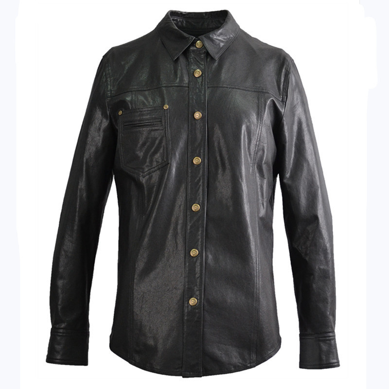 2020 Black Men Fashion Casual Leather Shirt Single Breasted Plus Size XXXXL Genuine Thin Sheepskin Natural Coat FREE SHIPPING