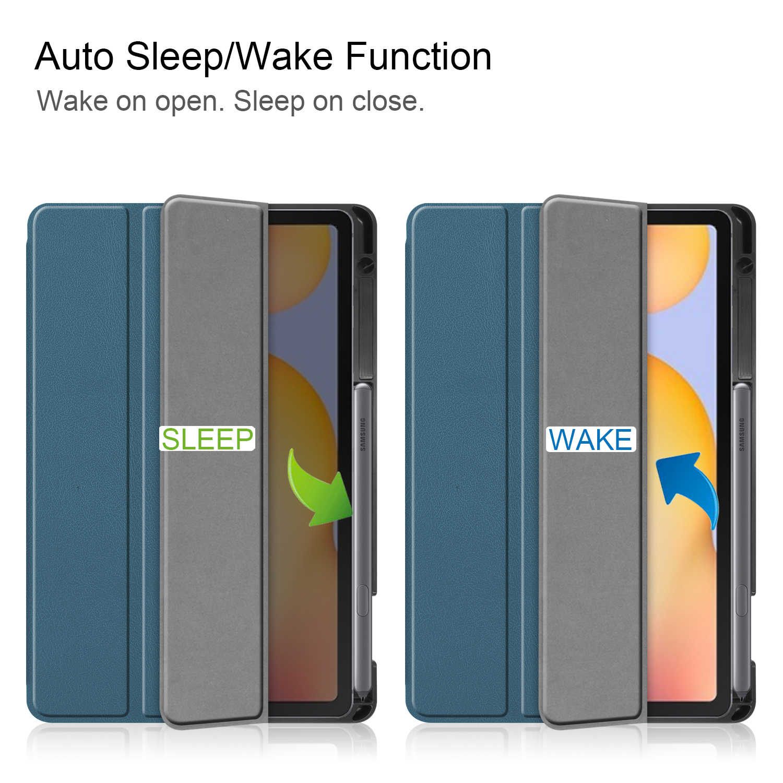 """ซองหนัง PU สำหรับ Samsung Galaxy Tab S6 Lite 10.4 """"SM-P610 P615 P617 ดินสอผู้ถือ auto SLEEP/Wake"""