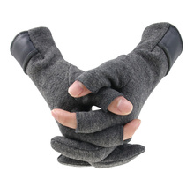 겨울 남자 mitten 2 손가락 노출 된 따뜻한 터치 스크린 windproof 얇은 guantes 운전 안티 슬립 야외 낚시 남성 장갑