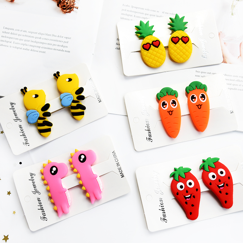 2019 2 PCS Kids Infant Lovely Cute Fashion Hairpin Baby Girl Cartoon Animal Vegetables Hair Clip Set Beautiful Hair Accessories