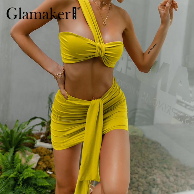 Glamaker Red knitted 2 piece suits Crop top and skirt lady sets Holiday women fashion sexy bandage elegant pleated dress 2021new 5