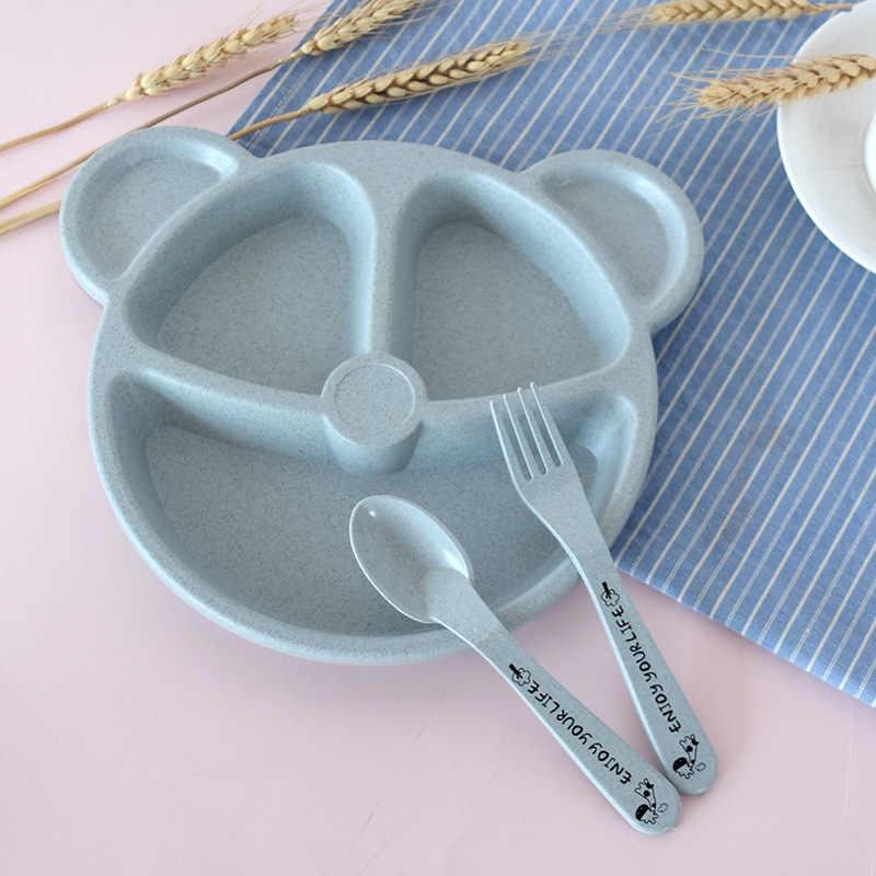 תינוק קערה + כפית + מזלג האכלת מזון כלי שולחן סט קריקטורה דוב ילדי מנות אכילת אוכל אנטי חם חיטה קש אימון צלחת