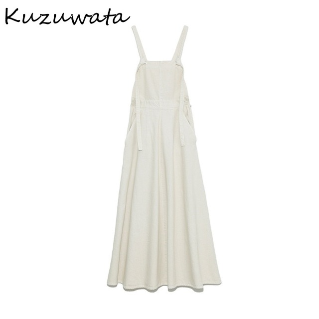 Kuzuwata High Waist Hip A Line Camis Dress Women Sexy Sleeveless Shoulder Strapless Denim Vestidos Summer 2021 New Slim Robe 6