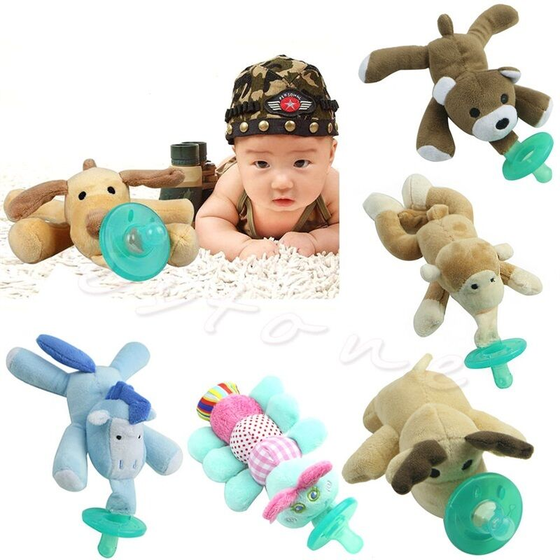 Goocheer 1Pcs Cartoon Pacifier Toddler Infant Baby Soothie Boy Girl Kids Silicone Pacifiers Cuddly Plush Animal