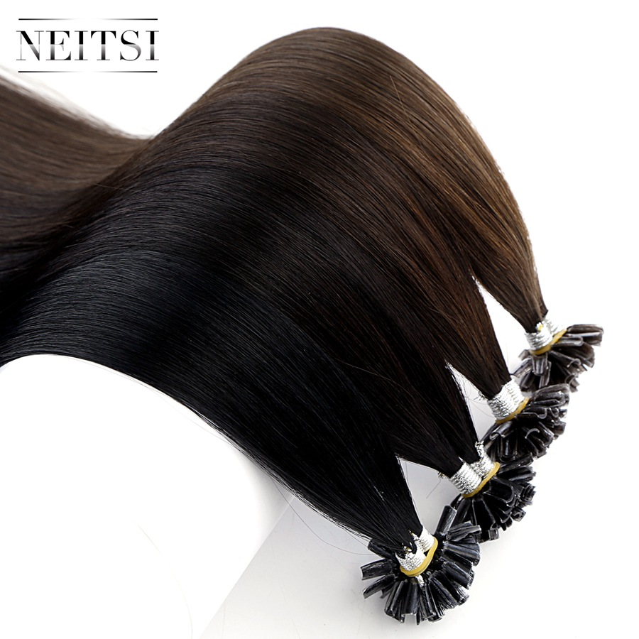 Neitsi Straight Remy Human Fusion Keratin Hair Nail U Tip Pre Bonded Capsules Double Drawn Hair Extensions 16