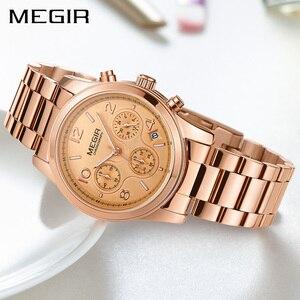 Image 3 - MEGIR luxe Quartz femmes montres Relogio Feminino mode Sport dames amoureux montre horloge haut marque chronographe montre bracelet 2057